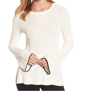 Vince Camuto Antiq White Flared Sleeve Sweater